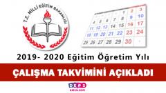 2019- 2020 Eğitim Öğretim Yılı Çalışma Takvimi